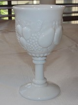 "Milk Glass Wine Goblet 3 3/8"" Wide X 6"" Tall Fruit Pattern Vintage ~ - $17.81"