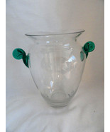 Large Contemporary Crystal Art Glass Vase with applied Green Swirled Han... - $12.49