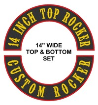 """Custom Embroidered Top And Bottom Set Rocker Motorcycle Biker Patch 14"""" (D) - $45.35"""