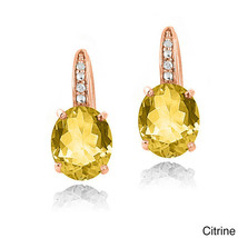 18K Yellow Gold Filled Stud Hoop Dangle Earring Made with Swarovski Crys... - $12.73