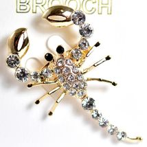 """Gold Tone Pave Crystal Scorpion 2"""" Pin Brooch New With Tags image 3"""