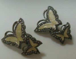 Vintage Avon Silver-tone Enamel Whispering Wings Butterfly Earrings  - $14.36