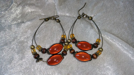 vintage earrings hoops tan amber brown beads could be silver - $18.00