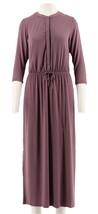 Halston 3/4 Slv Maxi Dress Drawstring Purple Plum 4 NEW A275437 - $50.80