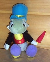 "Disney Pinocchio JIMINY CRICKET Plush Sitting 10"" Handsome with Red Umbrella - $8.79"