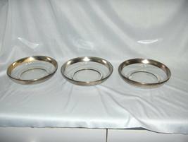 3 Vintage Dorothy Thorpe Glass Salad Bowls Sterling Silver Band NICE - $44.55