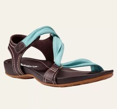Timberland Women's Lola Bay Brown & Teal Blue Slide Sandals Style 8208A Size:8 - $54.47