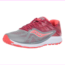Saucony Women's Ride 10 Running Shoes Grey/Berry - $59.95