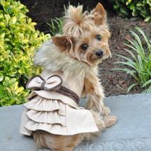 Wool Fur-Trimmed Dog Harness Coat - Camel - $49.99
