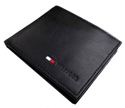 Tommy Hilfiger Men's Premium Leather Id Credit Card Coin Wallet Black 31Tl25X020