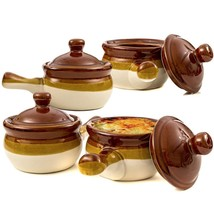 French Onion Soup Crock Bowls With Handles 15 Oz Set Of 4 Glazed Ceramic... - $44.06
