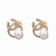 Trendy Exquisite Geometric Rhinestone Stud Earrings Zinc Alloy Imitation... - $9.45