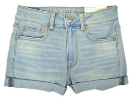 American Eagle Womens Destroy Light Blue Stretch Jean Shortie Shorts  4  6570-6 - $44.50