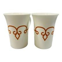 Starbucks Tall Elegant Fluted Mugs Pair Pumpkin Orange Scroll Diamond De... - $12.86