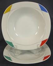Christopher Stuart Montego Bay M2503 Soup Cereal Bowls Lot of 2 Multicol... - $17.95