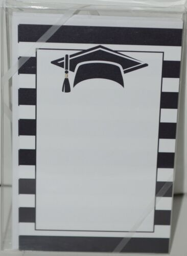 Rosanne Beck Collections 410 2590 Flat Notecards Striped with Graducation Cap
