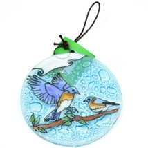 Blue Birds Bluebird Fused Art Glass Ornament Sun Catcher Handmade Ecuador image 1