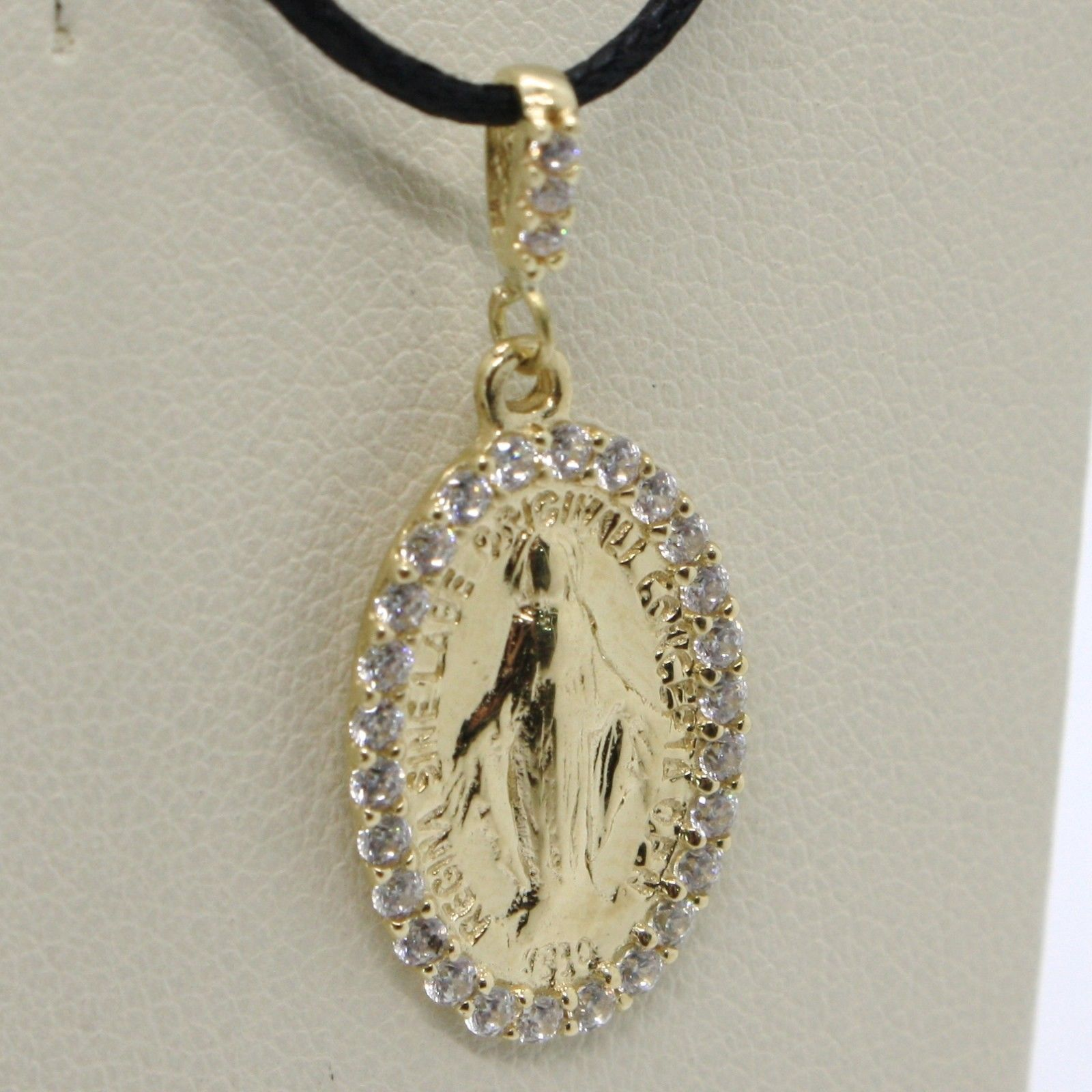 18K YELLOW GOLD ZIRCONIA MIRACULOUS MEDAL VIRGIN MARY MADONNA MADE IN ITALY