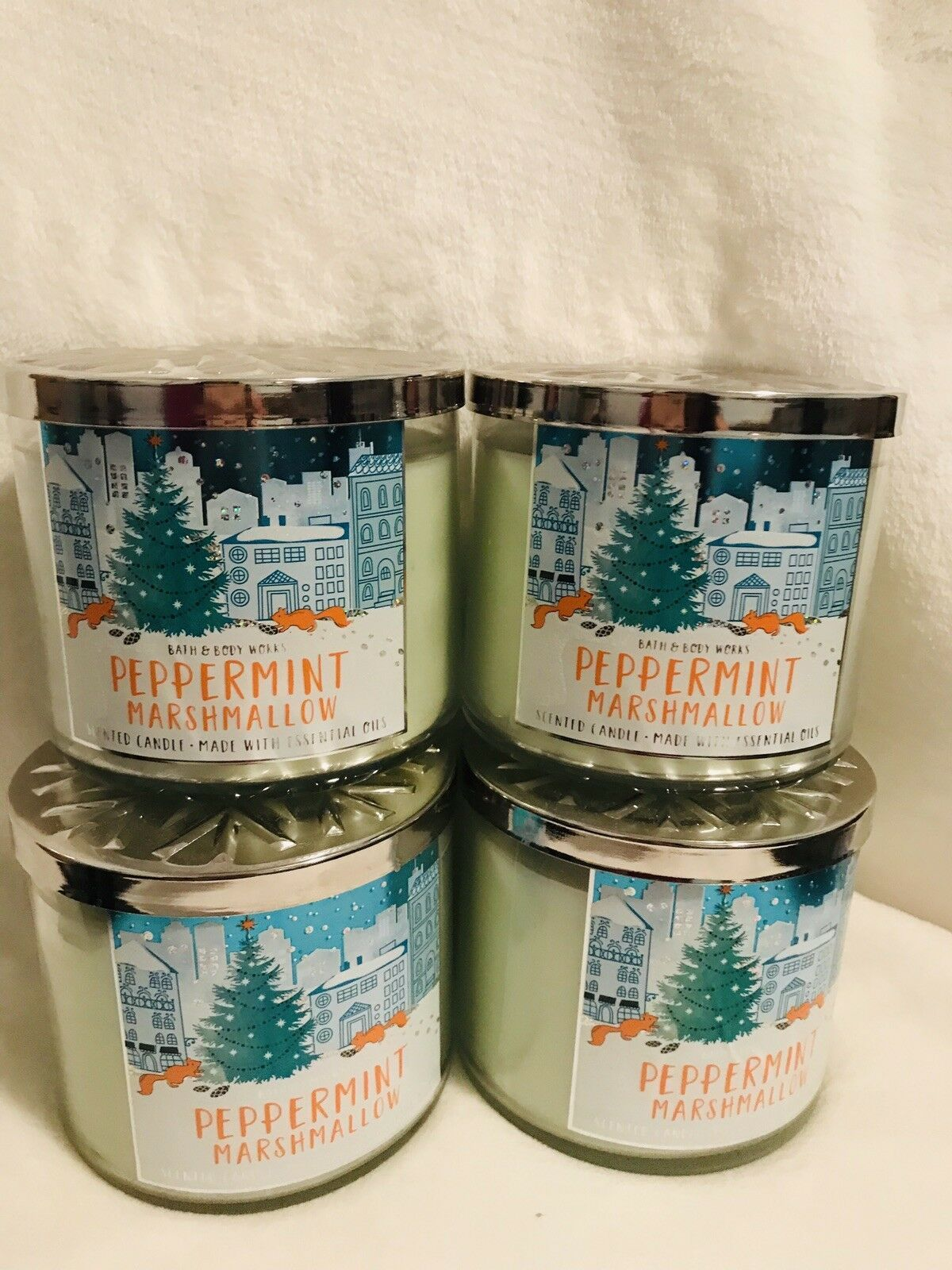 4 Bath Body Works Large 3-Wick Candle Peppermint Marshmallow