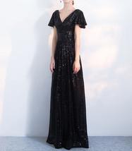 Women Sequin Maxi Dresses Cap Sleeve High Waist Maxi Sequin Dress Gold Red Black image 7