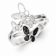 STERLING SILVER 0.05CT BLACK AND WHITE DIAMOND BUTTERFLY  RING - SIZE 8 - £80.22 GBP