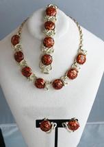 Vtg Coro Lucite Confetti Parure Necklace Bracelet Earrings Rhinestones  - $74.66