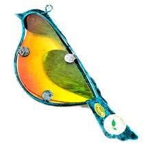 Holiday Bliss Blue & Yellow Metal Glass Bird Ornament Sun Catcher Suncatcher image 2