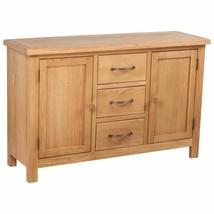 vidaXL Solid Oak Sideboard w/ 3 Drawers 2 Doors Side Storage Cabinet Cupboard image 1