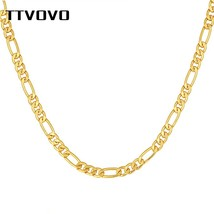 TTVOVO Men's Gold Filled Figaro Chain Necklaces for Men Women 5MM Wide Cuban Cur - $21.27