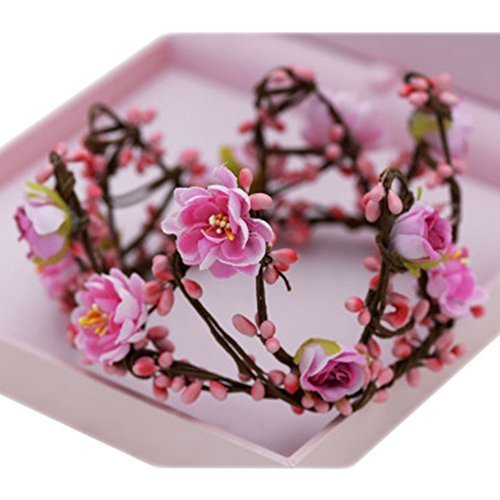 The Bride Adorn Article Female Simulation Wreath Crown Crown Headdress(Pink)