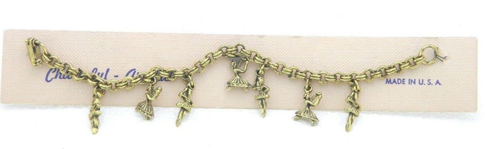 Vintage Gold Tone Ballerina Dancers Charm Bracelet New Old Stock