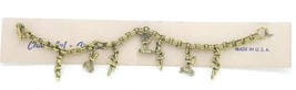 Vintage Gold Tone Ballerina Dancers Charm Bracelet New Old Stock - $49.50