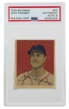 Jack Kramer Signed 1949 Bowman 53 Red Sox Baseball Card PSA/DNA Auto 9 - $395.99