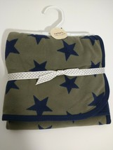 Carter's Little Layette Olive Green Navy Star Baby Blanket Covers Warm 2... - $22.99
