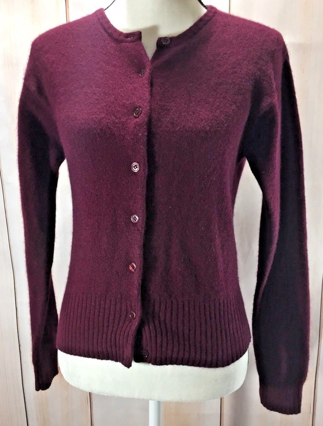 Primary image for B. Moss Tailor Angora Blend Long Sleeve Button Up Cardigan Sweater Size S Plum