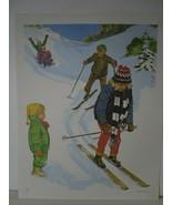 Skiing Children in Winter Snow - Art Print - David C. Cook Co 1967 - $10.24