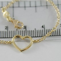 18K YELLOW GOLD BRACELET 7.10 INCHES WITH HEART, ROUND ROLO CHAIN, MADE IN ITALY image 2