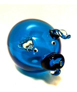 Art Glass Pig Blue Body Clear Applied Ears Snout Handcrafted 6 inches Long  - $55.44