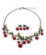 Arty jewelry sets red enamel cherry leaf shape necklace stud earrings statement collar thumbtall