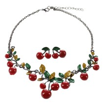 Trendy Women Wedding Party Jewelry Sets Red Enamel Cherry Leaf Shape Nec... - $7.99