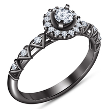 10k Black Gold Plated 925 Silver Round Cut White Diamond Women's Engagem... - $79.45