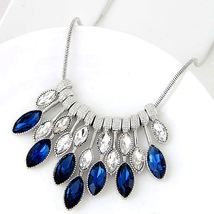 Crystal Necklace Jewelry Silver Color Chain (1), Fashion Round Charm Pen... - $14.89