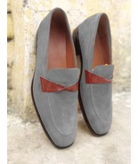 New Handmade Grey Moccasin Slips On Loafer Shoes - $158.99