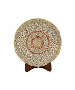 White Marble Decorative Plate Inlaid With Gems & Gold Painted (12 x 12) ... - $84.15