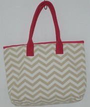 GANZ Style 101 Product Number ER39001 Large Canvas Tote Chevron Cream Tan image 2