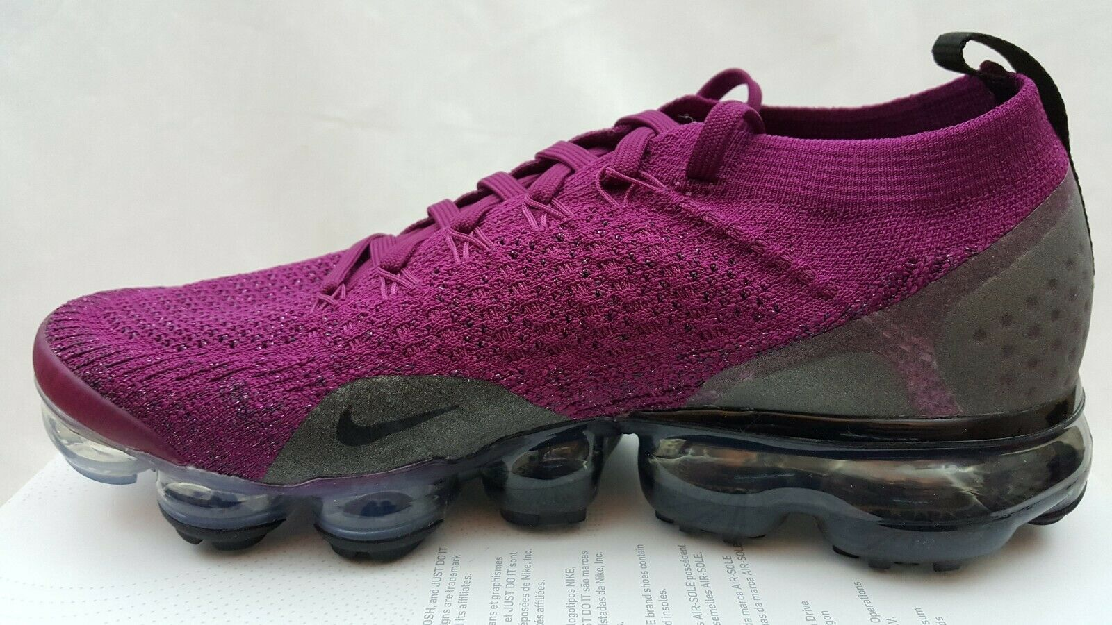 NIKE WOMENS AIR VAPORMAX FLYKNIT 2 Raspberry Red Black Shoes 942843-603 Size 7.5