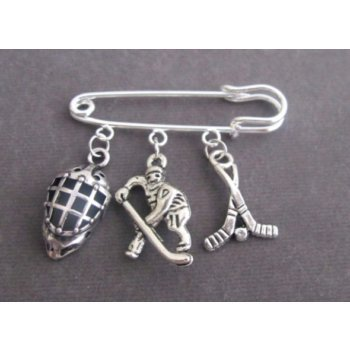 Primary image for Ice Hockey Charm Kilt Pin, Sports Safety Pin Brooch, Ice Hockey Jewelry