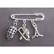 Ice Hockey Charm Kilt Pin, Sports Safety Pin Brooch, Ice Hockey Jewelry - $10.00