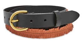 NWT FOSSIL LEATHER AND SUEDE SKINNY FRINGE BELT BROWN/BLACK SIZE LARGE  - $25.23