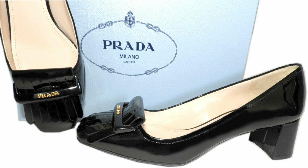 Prada Kiltie Low Heel Patent Leather Pumps Gold Logo Shoes 37 Fringes
